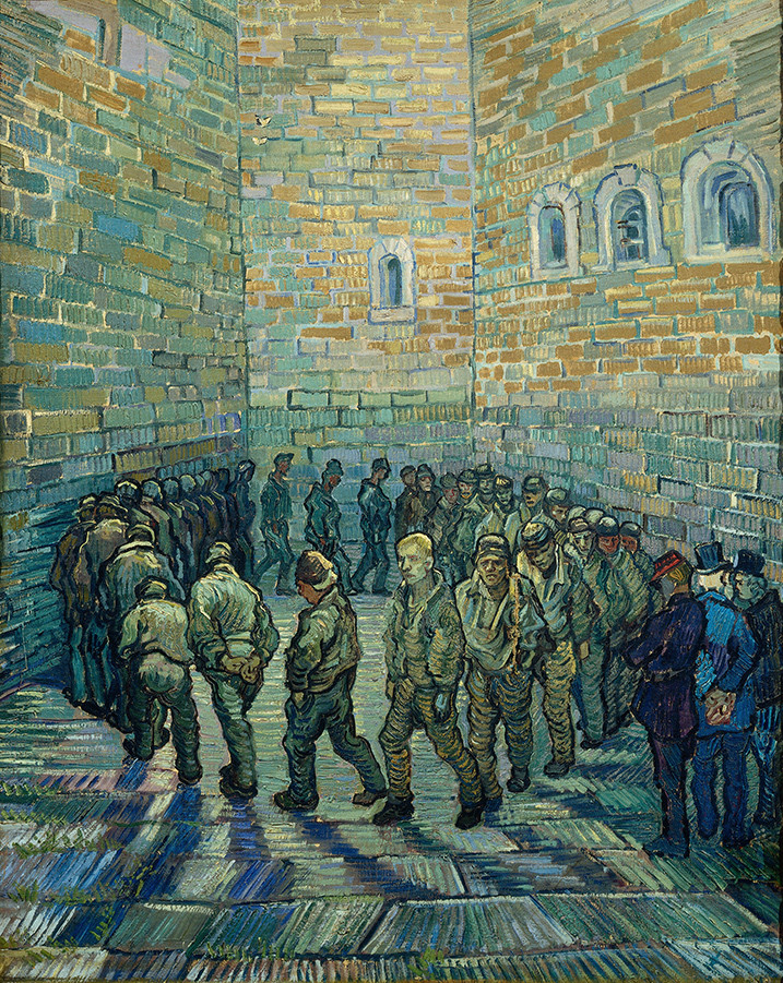 Painting of a prison courtyard by Vincent Van Gogh