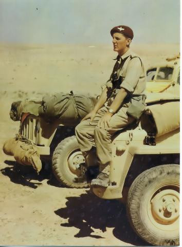 John Waddy as a young officer in the dessert in WWII
