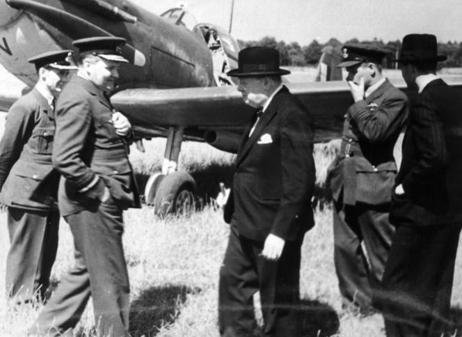 Black and white image of Churchill visiting RAF Biggin Hill