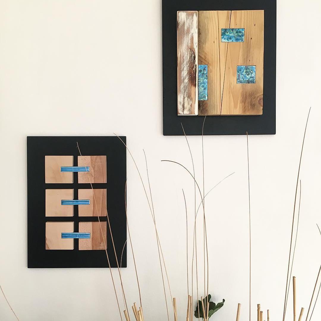 quadri in legno con inserti in ceramica