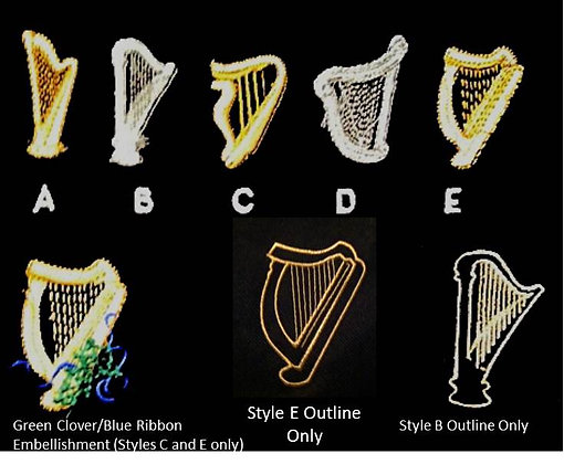 Embroidery Option:  HARP STYLES
