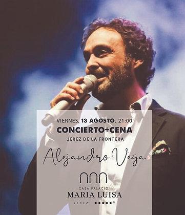 Concierto y Cena Alejandro Vega, viernes 13 agosto, a las 21,00h PM