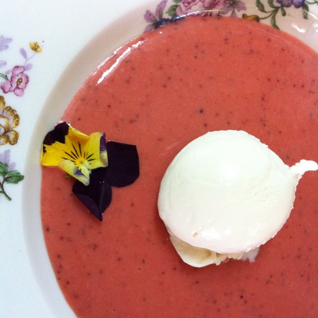 Creamy strawberry soup