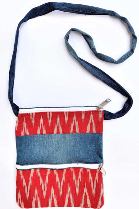 Denim Sling Bag with Kalamkari +two zip pockets