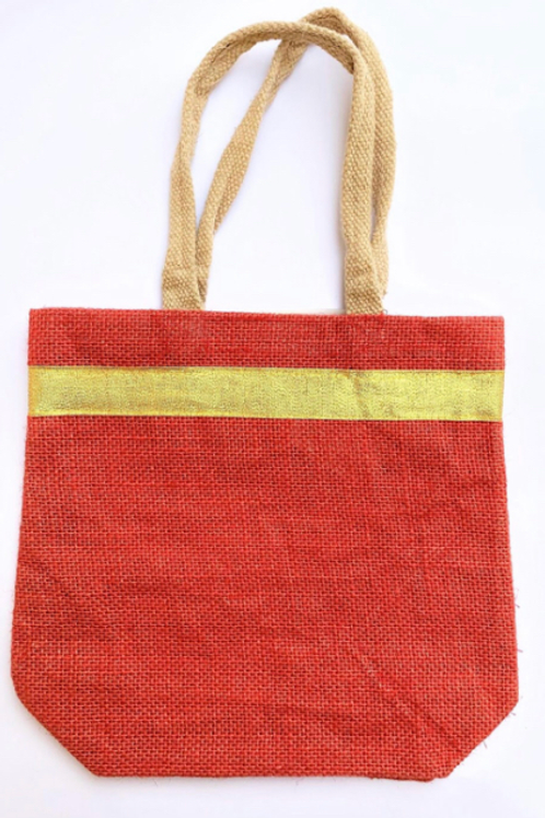 Jute Bag with Golden Strip