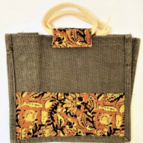 Brown Jute Bag with Kalamkari