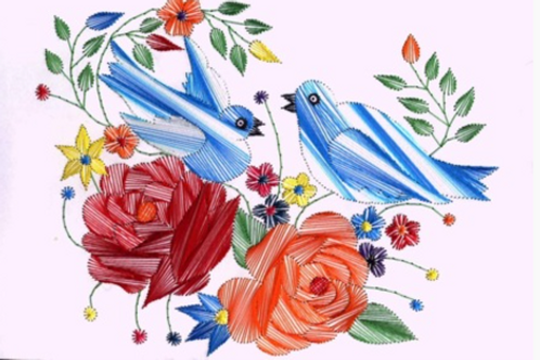 The Birds and The Flowers - Embroidered Card