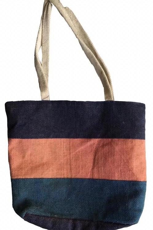 Tri-Colour Jute Bag + Zip + Inside Pockets