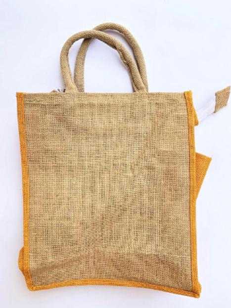 Kolkata Jute Bag with Water Pouch + Zip