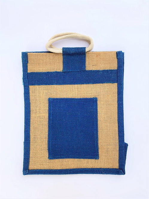 Jute Bag with Blue Sides & Pocket
