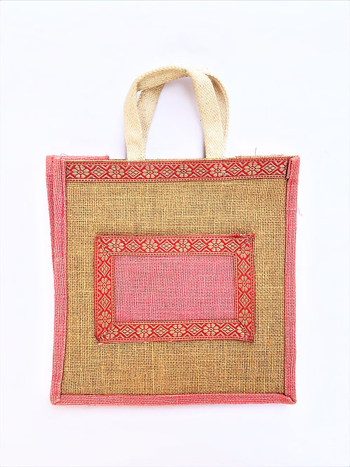 Jute Bag with Pocket and Cotton Border