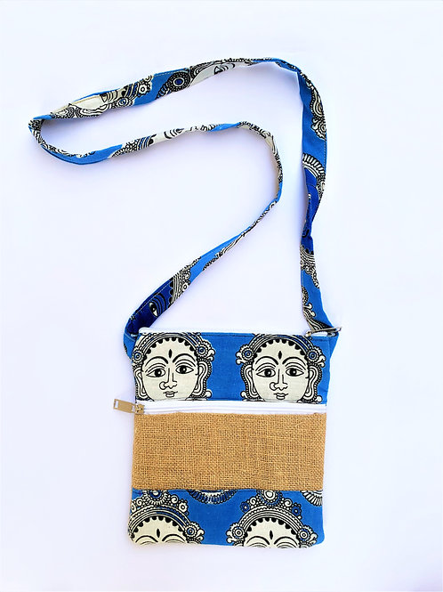 Jute Sling Bag with Kalamkari + two zips pockets