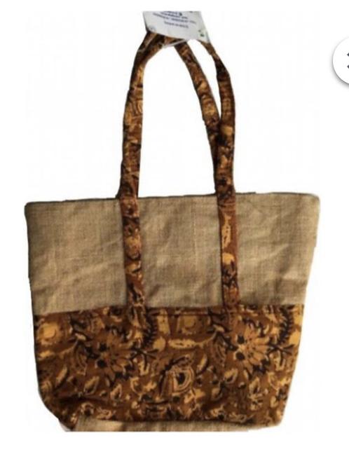 Jute Bag with Brown Kalamkari  + Zip