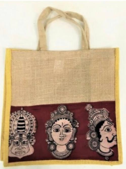 Natural Jute Bag with Kalamkari