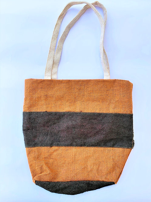 Double Coloured Stripes Bag + Zip + Inside Pockets