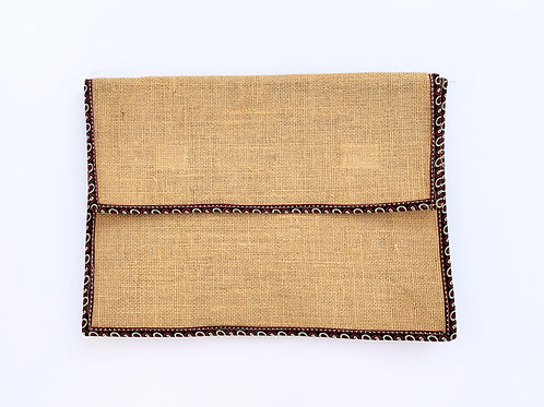 Jute Laptop Sleeve with Cotton Border