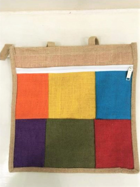 Multi-Coloured Jute Bag + Two Zips