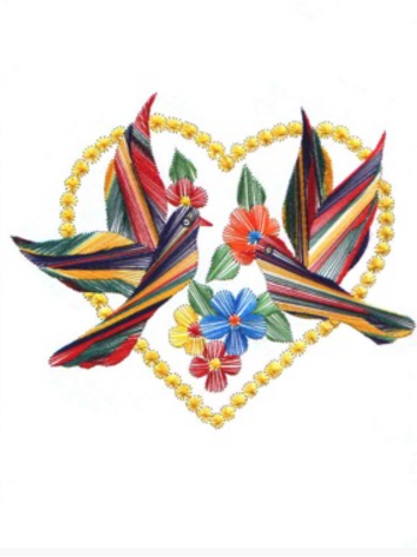 The Bird of Hearts - Embroidered Card