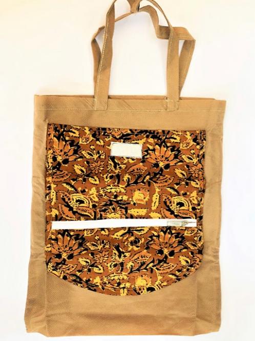 Folding Bag with Kalamkari + zip + pocket