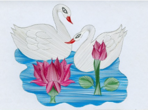 The Ducks - Embroidered Card