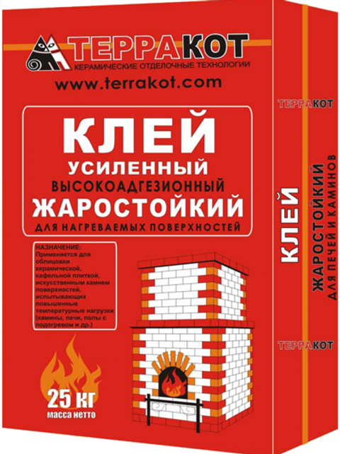 """Клей жаростойкий усиленный """"Терракот"""", 25 кг"""