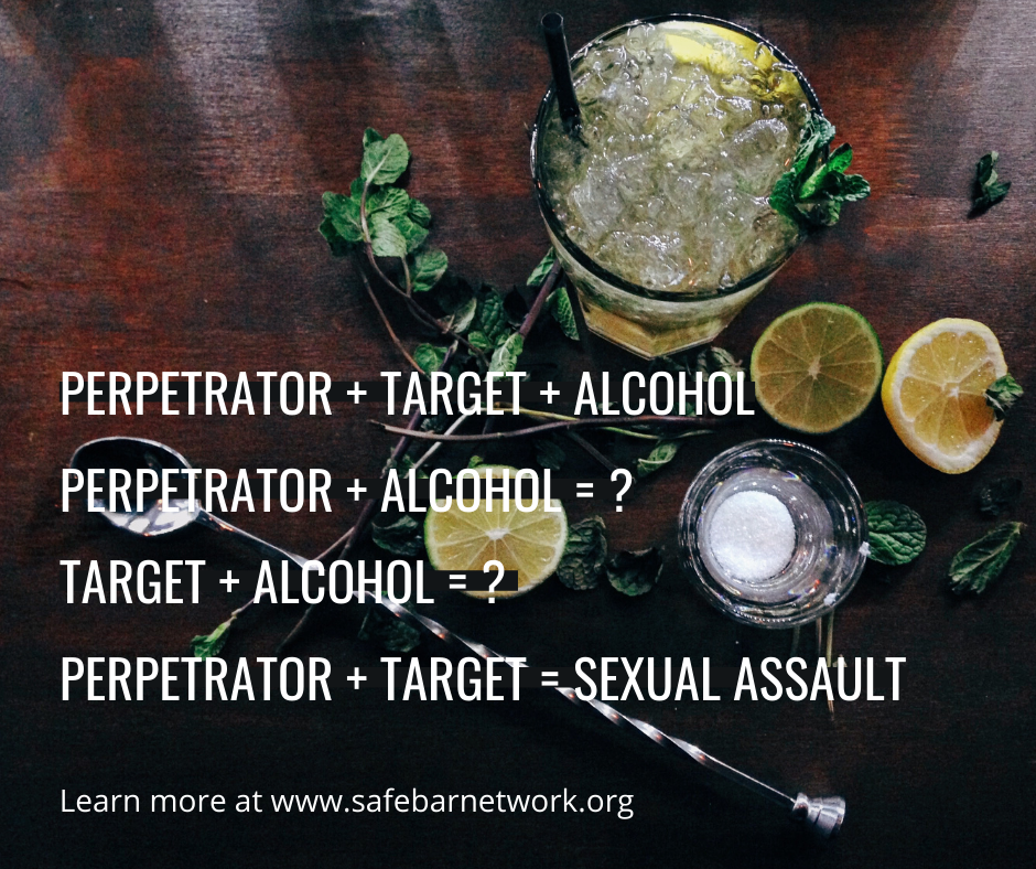 sexual assault, sexual harassment, alcohol, bystander intervention, active bystander, safe bar, safe night out, safe bar network