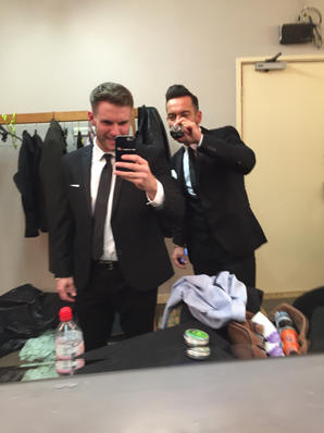 This is what Mad Men do backstage, with my old agent Danny Lowry (as Robbie Williams)