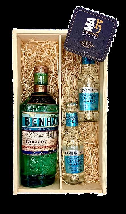 Benham's Gin + Gratis 2 Fever Tree Tonic +  Gratis houten kistje