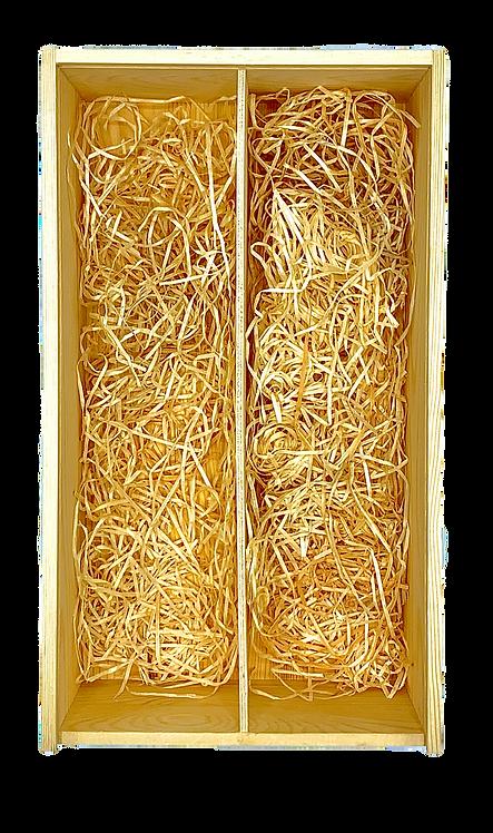 Kistje in hout voor 2 flessen