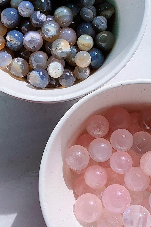 Agate and Rose Quartz Mini Sphere