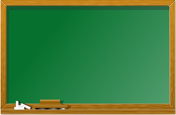 green chalk board with a brown wood border