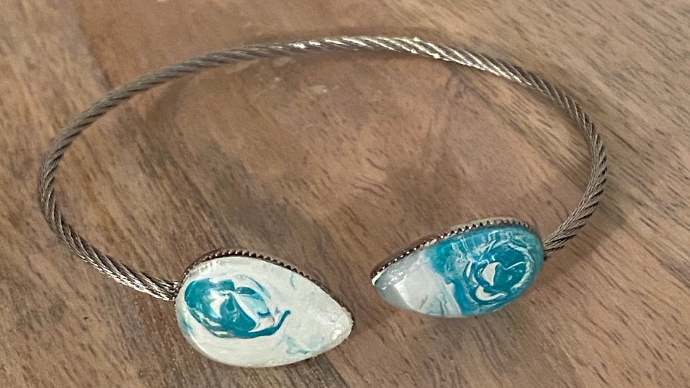 Handpainted Double Teardrop Bracelet - Turquoise/white