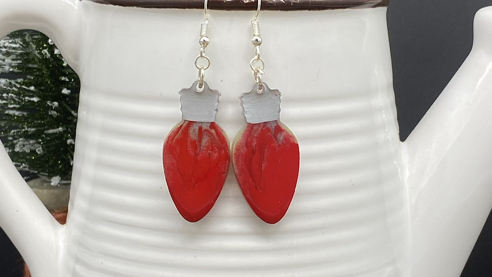 Holiday Lights Earrings ~ Red/Silver