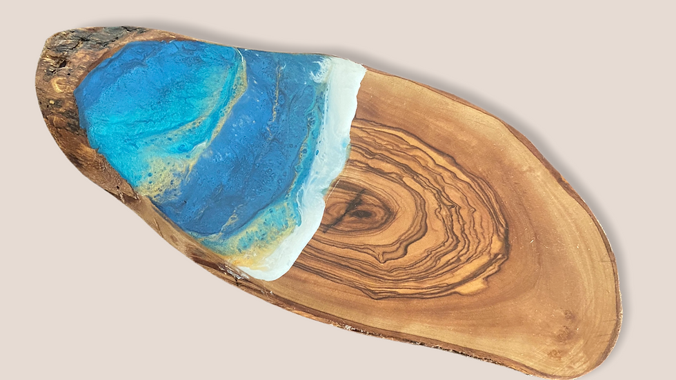 Olive Wood Cheese Board ~ Small | Ocean themed