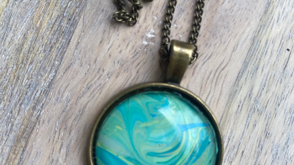 Acrylic Paint Necklace - Teal