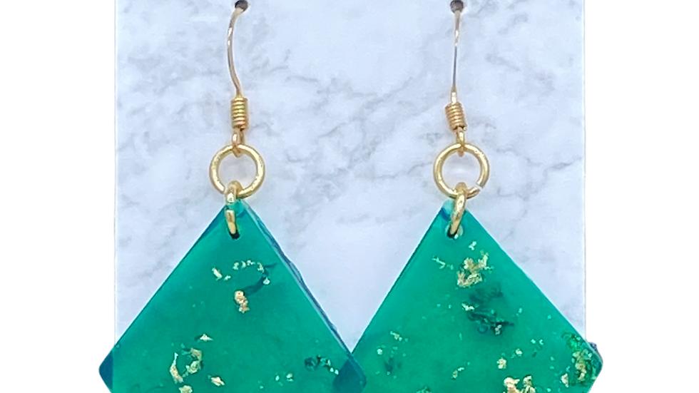 Translucent Green Dangle Earrings