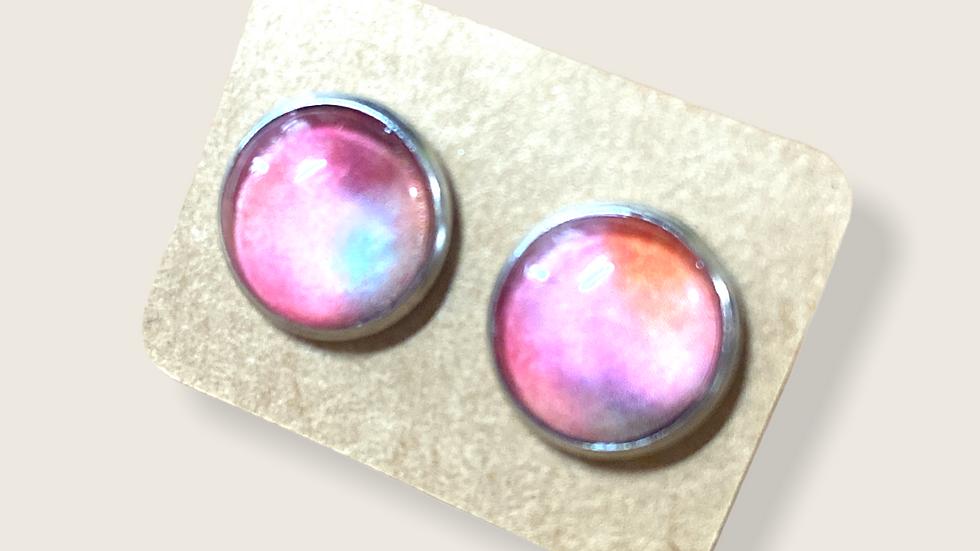 Button  Earrings ~ Tie Dye