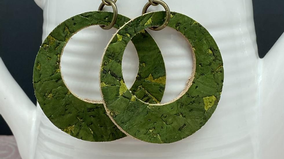 Olive Green Leather Hoop Earrings