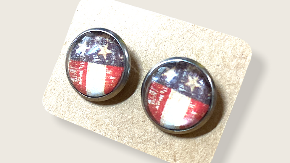 Button Earrings ~ Flag