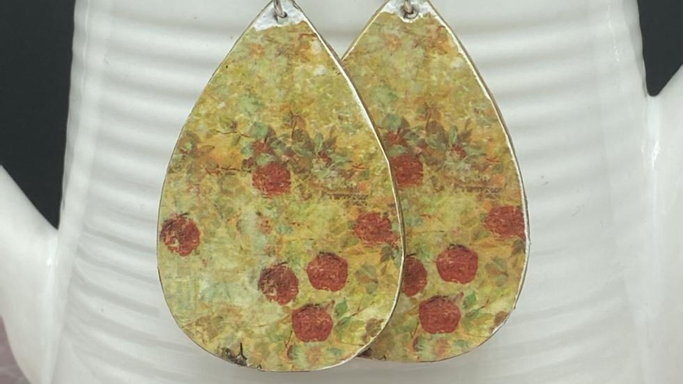 Vintage Floral Wood Earrings