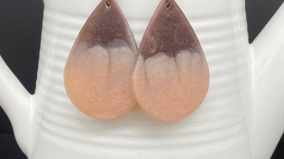 Purple/Gold Teardrop Earrings