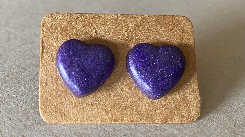 Purple Heart Stud  Earrings