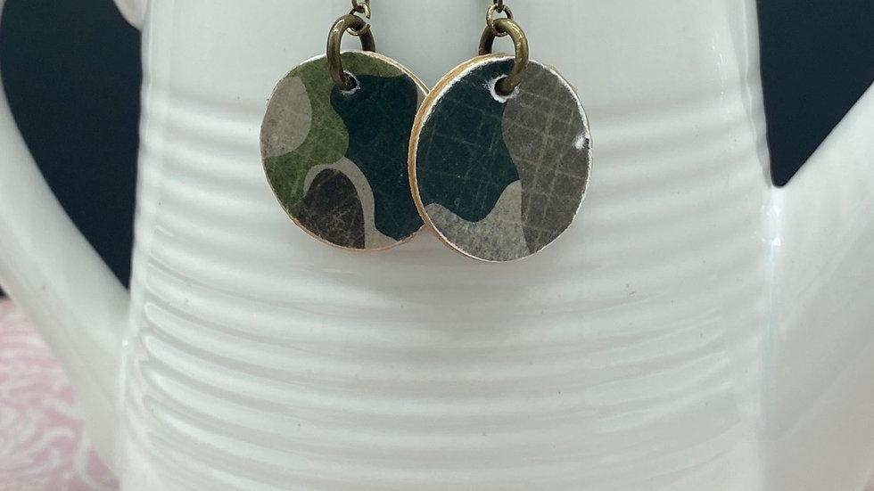 Camo Wood Circle Earrings