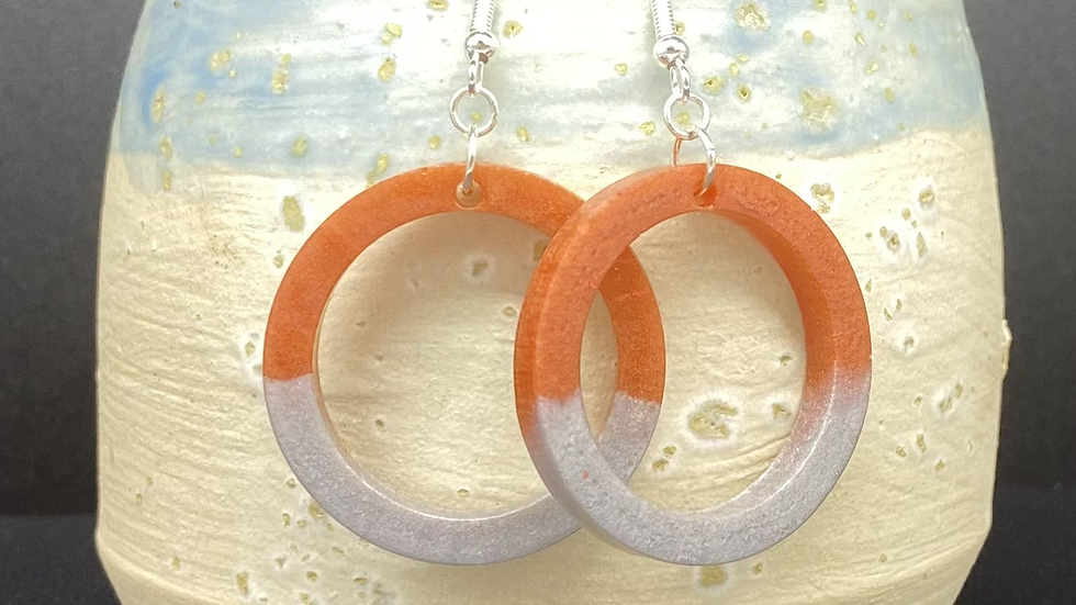 Two Tone Resin Hoops ~ Rust/Gray