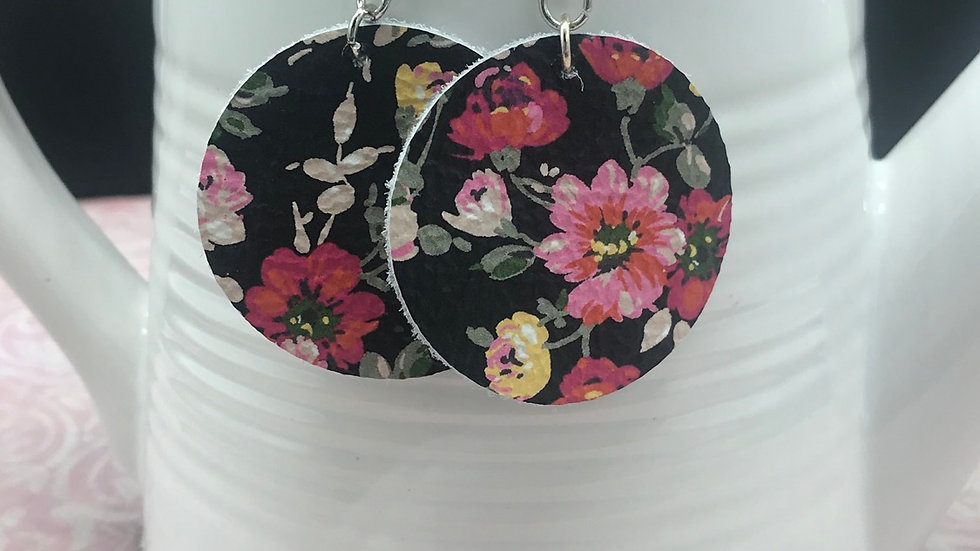 Round Floral Statement Earrings