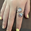 Thumbnail: Swirls Double Cabochon Adjustable Ring - Handpainted