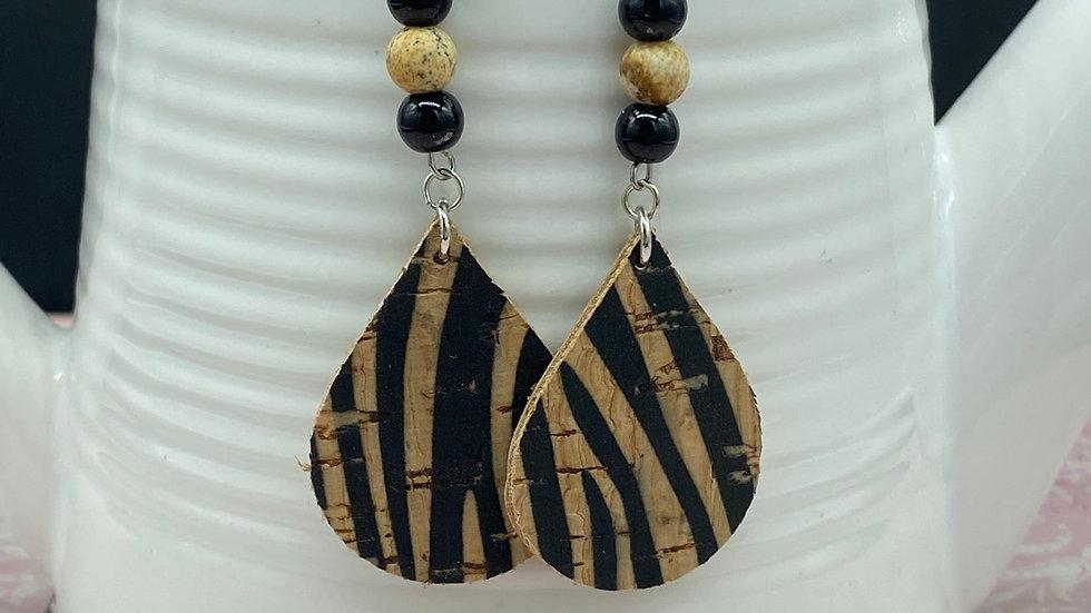 Zebra Bead Combo Dangle Earrings