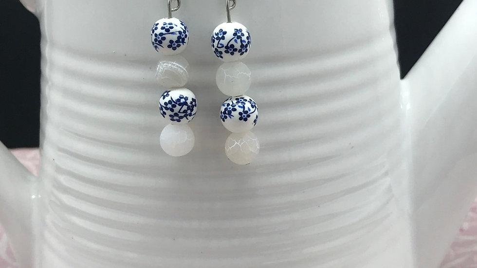Petite Blue/White Glass Bead Dangle