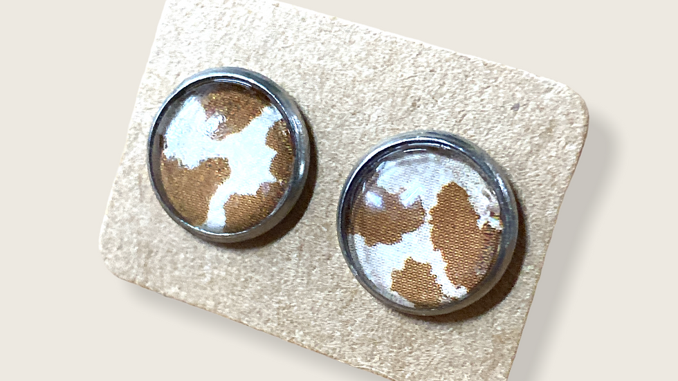Button Earrings ~ Animal Print