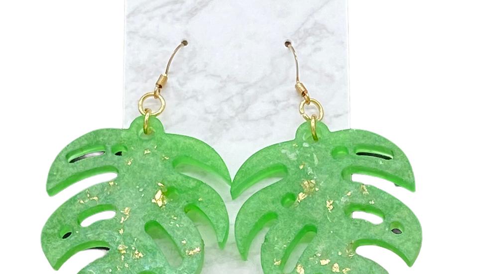 Monstera Leaf Earrings ~ Light Green